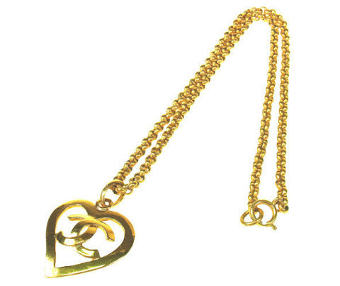 CHANEL<br>Vintage CC Logo Open Heart Necklace 95P