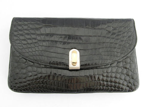 Zagliani<br>Antique genuine crocodile clutch bag