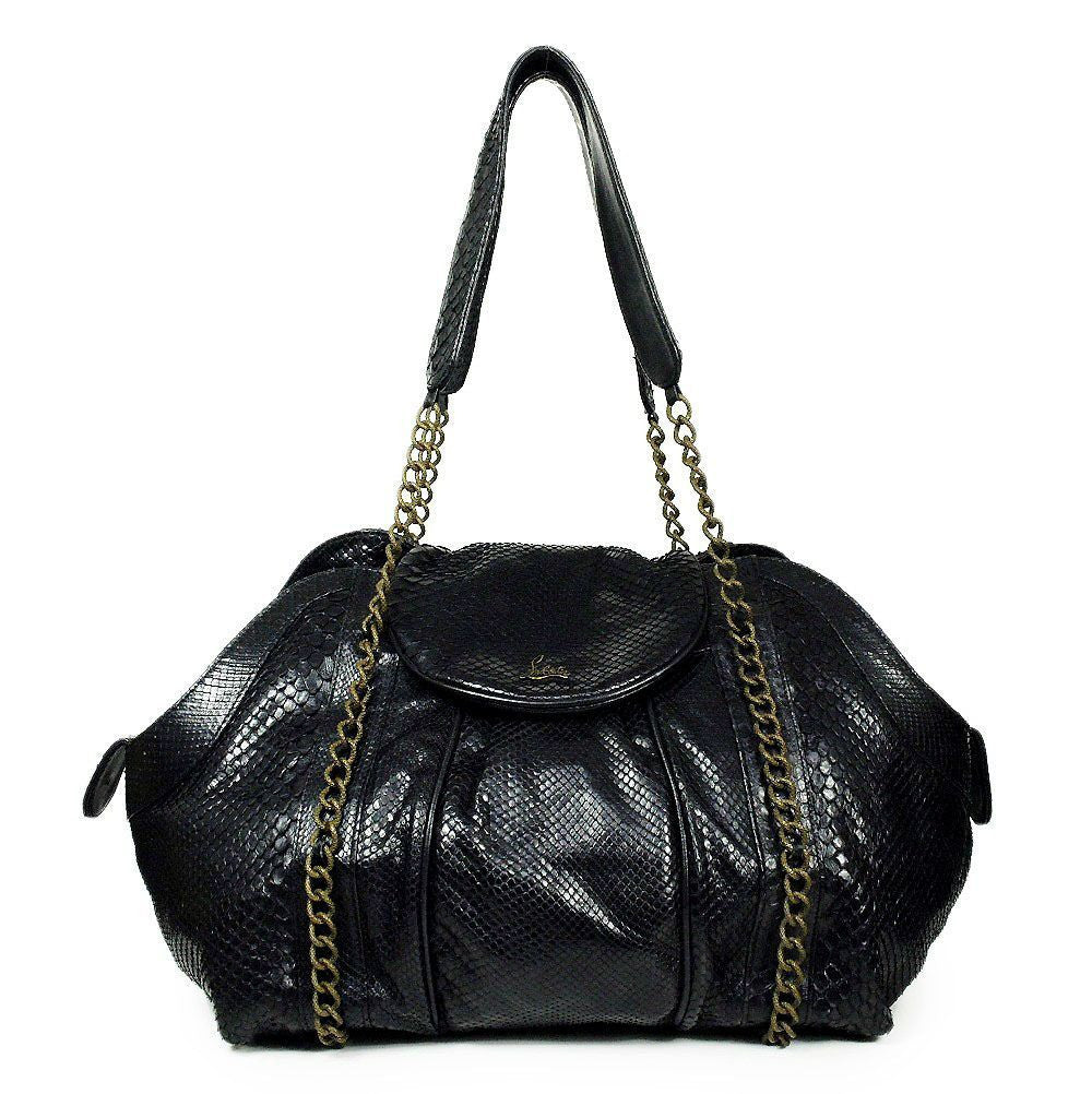 Christian Louboutin black glossed-snake python leather large shopper tote bag