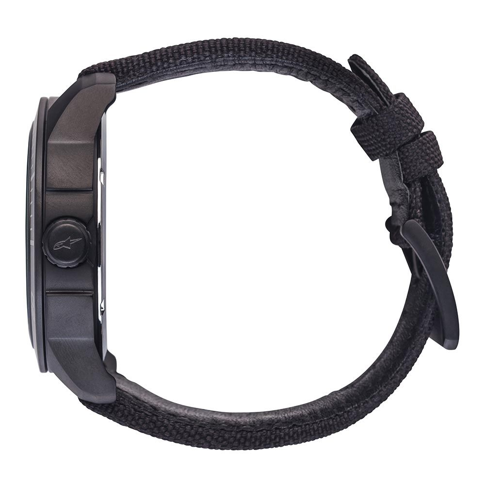 Tech Watch 3H Black Nylon Strap Black-Black/Black