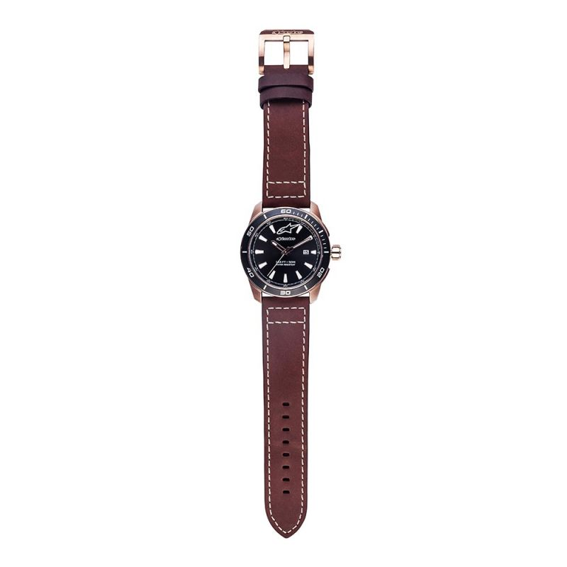 Tech Watch 3H Rose Leather Strap Brown-Rose/Black