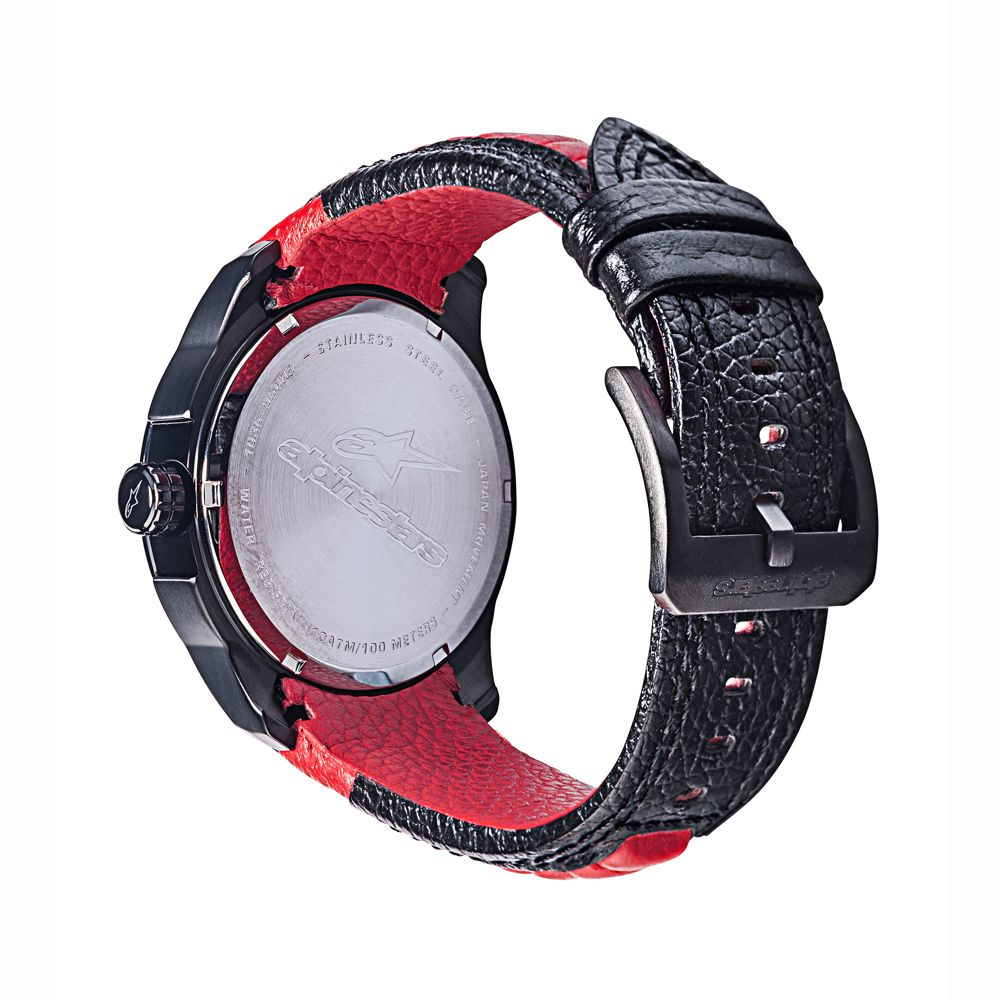 Tech Watch 3H Black Leather-Black/Red