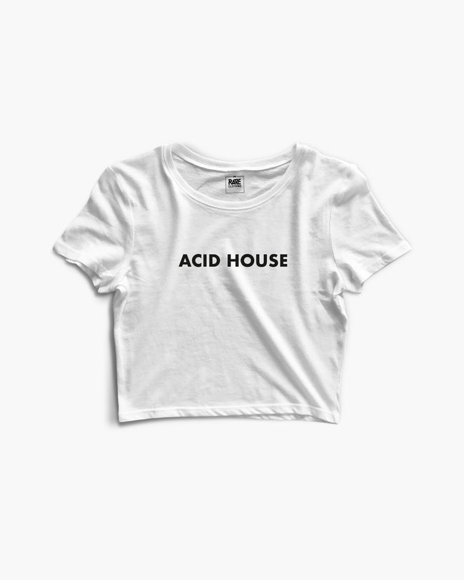 Acid House Crop Top in weiß für Frauen von RAVE Clothing