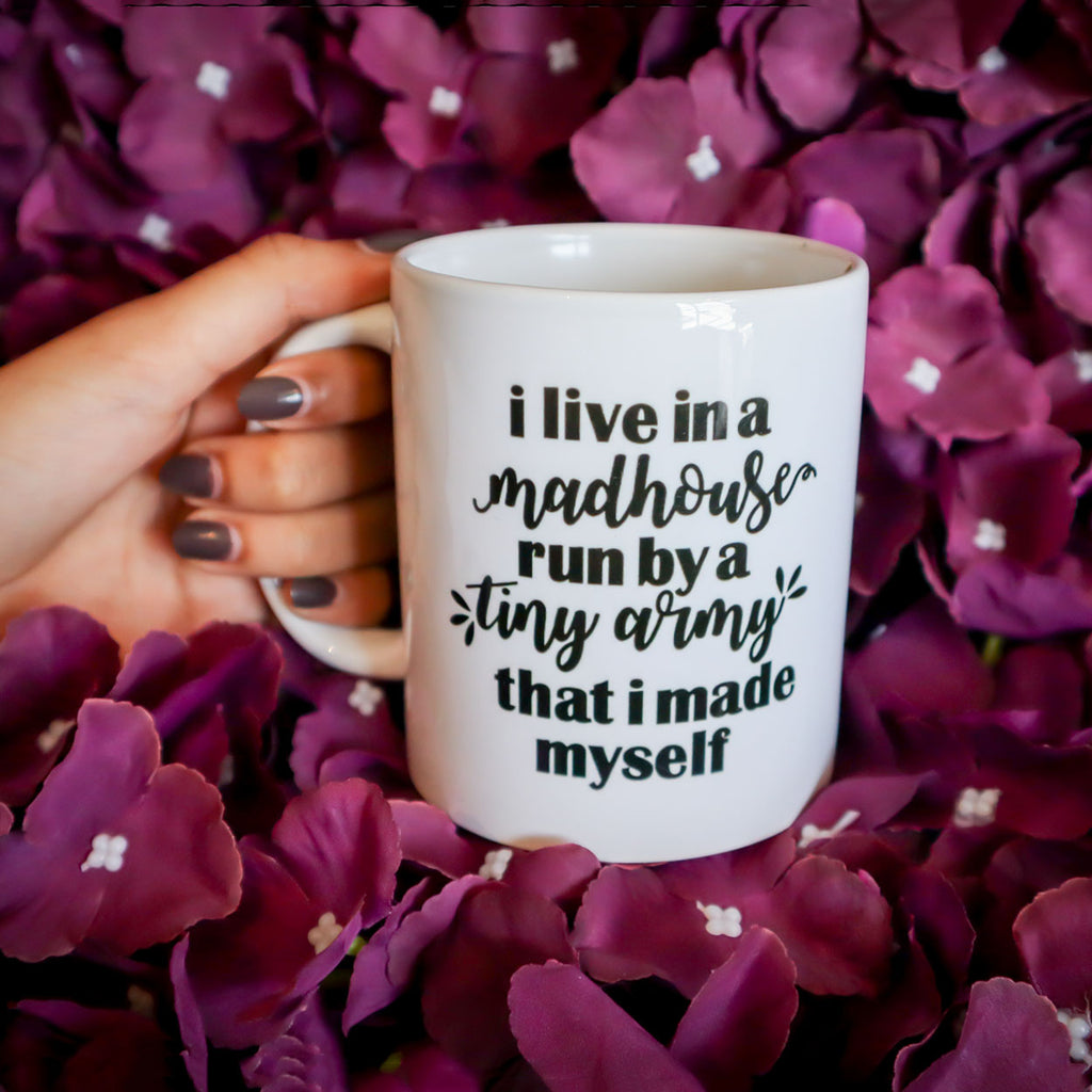 I Live In A Mad House Mug