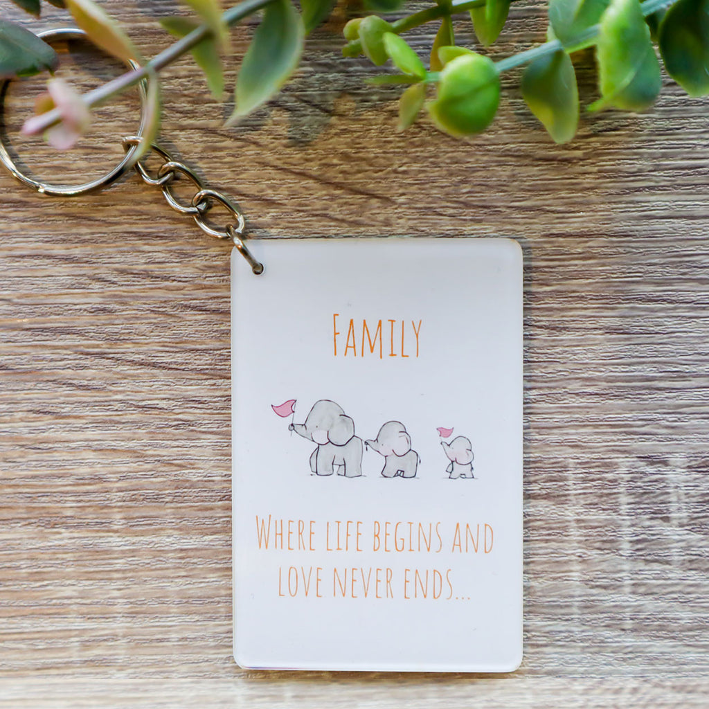 Family Where Life Begins, Love Never Ends Keychain