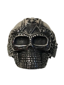 Designed very similar to an Iron Age war helmet, this is a skull with the attitude of a Viking raider