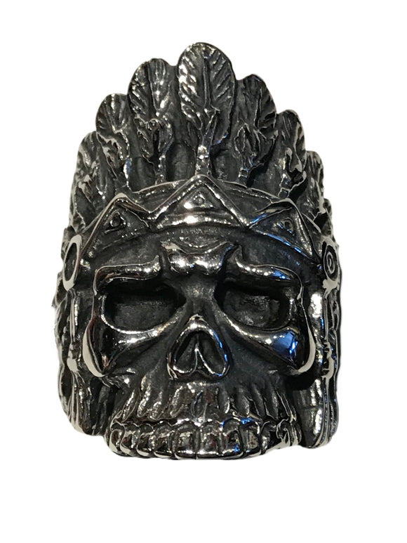 "The larger of our two ""spirit of a nation"" skull and headdress rings"