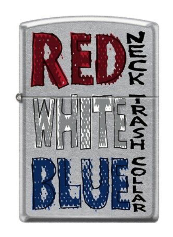 Red Neck White Trash Blue Collar With red white and blue fonts