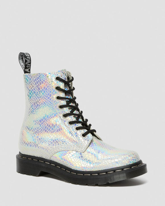 1460 Pascal Snake Metallic Suede Boots