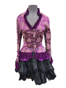 Purple brocade with lace touches