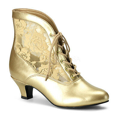 Gold antique style heels with lace accents