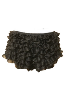 Black ruffle shorts with sparkles