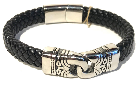 Tribal hook clasp stainless steel with all leather bracelet