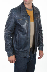 Blue Lamb Leather Jacket - LAST ONE
