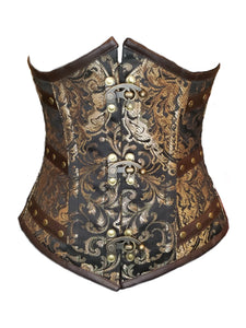 Gold Brocade with Faux Leather Detail and C-Locks Underbust Corset