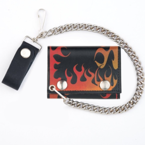 Leather Wallet with Chain - Flames