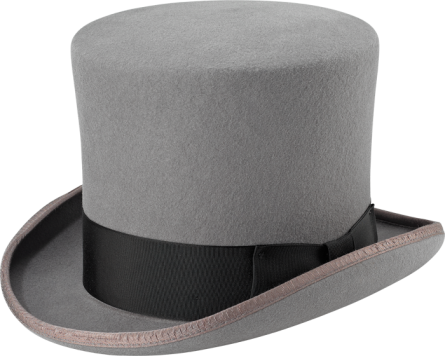 GRAY MAD HATTER TOP HAT