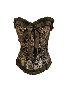 Silver and Black Brocade Overbust Corset with Metal Clips