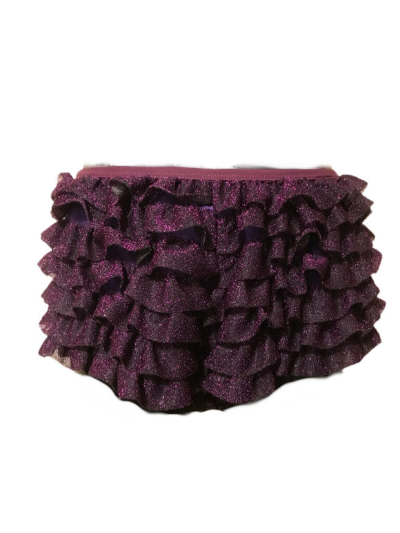 Purple glittery ruffle shorts