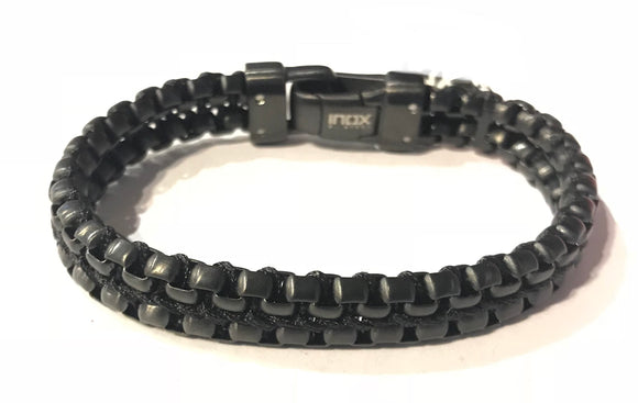 Durable black Stainless Steel bracelet with a sleek rope intertwining throughout.