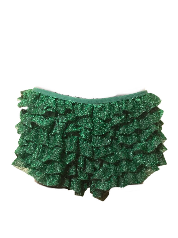 Sparkly green ruffle shorts