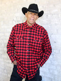 Red and Black Buffalo Check Plush Flannel