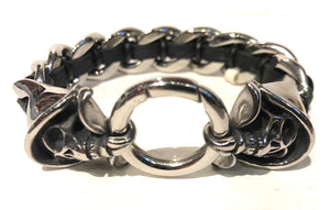 Stainless steel link bracelet interwoven with leather with hooded reaper Skal fasteners