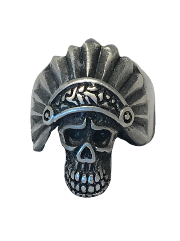 Smooth brushed stainless skull with headdress