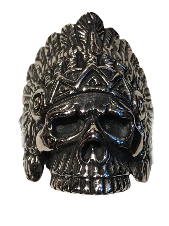"A smaller more curvy version of our ""spirit of a nation"" skull and headdress rings"