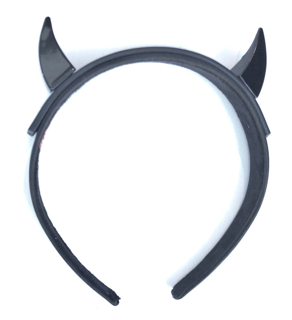 Metal horns on leather and cloth headband