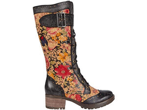 Kisha Black Floral Boot