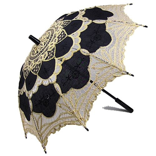 Black and Gold Lace Parasol