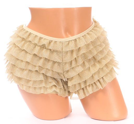 Gold ruffle shorts with glitter