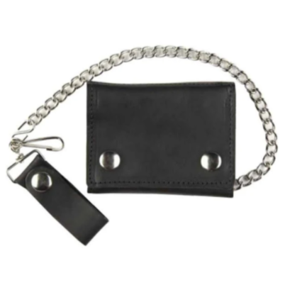 Leather Wallet with Chain - Black
