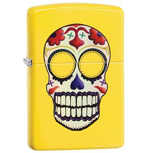 Sugar skull with yellow background