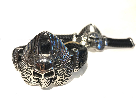 Large stainless steel skull with wings and leather band