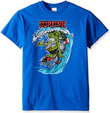 Blue tee of Rat Fink surfing