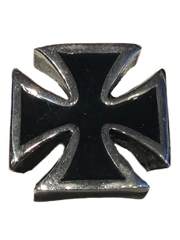 Black inlaid Maltese cross similar to the one worn by the great Lemmy of Motörhead