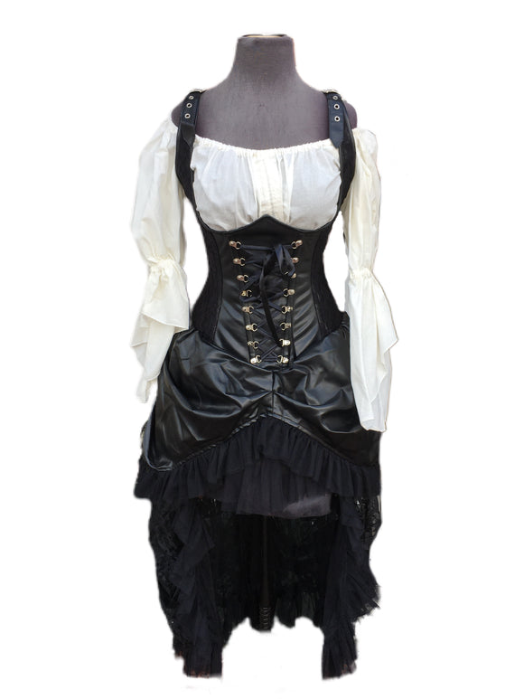 Sinister Corset Dress with Faux Leather