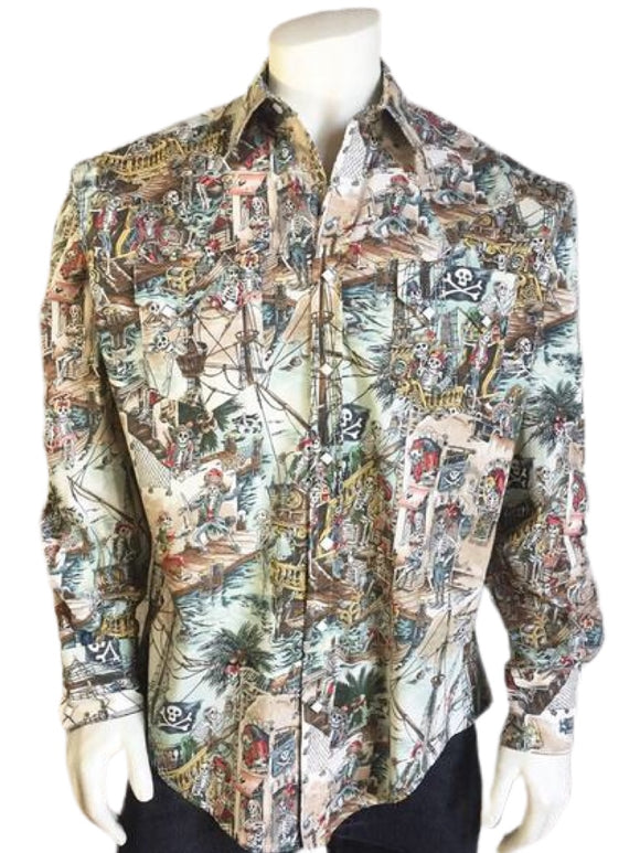 Dead Pirates of the Caribbean Print Western Shirt