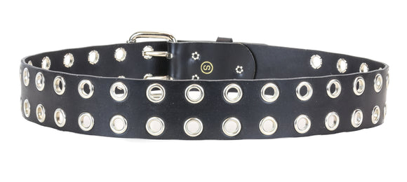Double Grommet Leather Belt