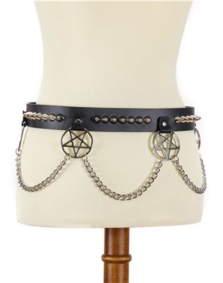 Pentagram Studded Belt With Chain
