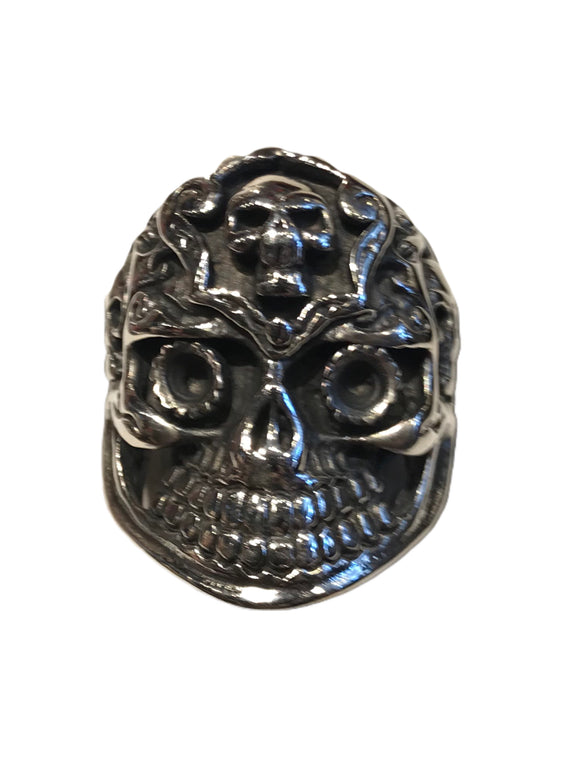 Wonderfully detailed skull ring with multiple sugar skull accents