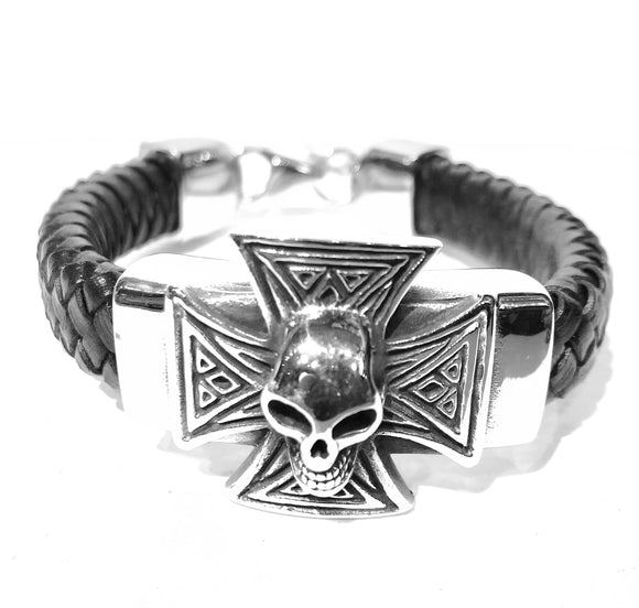 Leather bracelet with stainless steel Maltese cross with a skull in the center