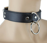 Classic Leather Bondage Ring Choker