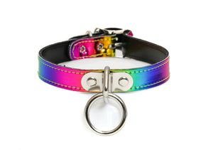Rainbow Bondage Ring Choker