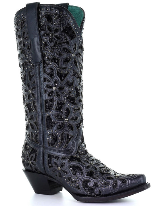 BLACK INLAY EMBROIDERY WESTERN BOOTS