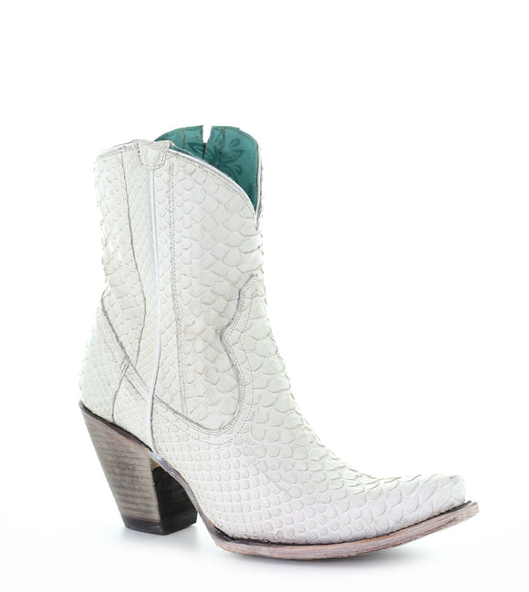 WHITE PYTHON ZIPPER ANKLE BOOTS