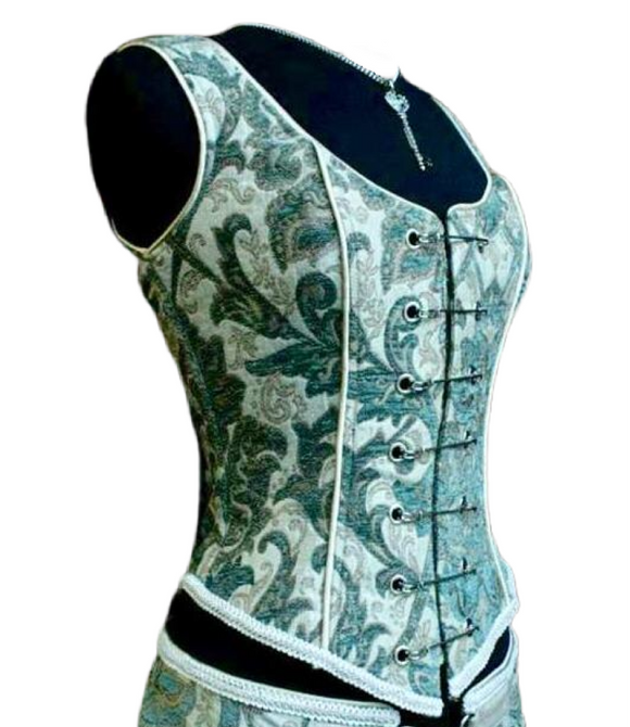 Green and White Pin Bodice