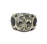 Well detailed larger band silver ring with central fleur de lis icon